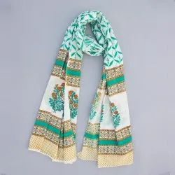 Women Summer Cotton Block Floral White Base Green Print Dupatta Jaipuri Print Stole