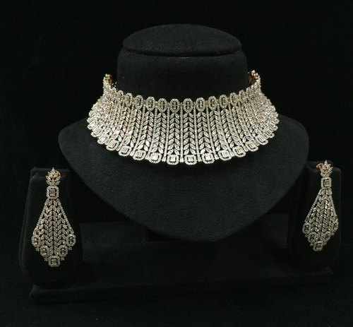 Brass Bollywood Inspired American Diamond Jewelry Choker Set, Size: Fits  Neck Size, Rs 8100 /piece | ID: 22425046097