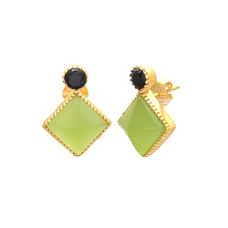 Sea Green & Black Onyx Double Gemstone Sterling Silver Handmade Gold Polished Earring