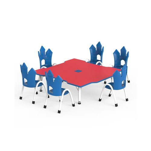 Plastic And Metal Multicolor Table And Chair Set