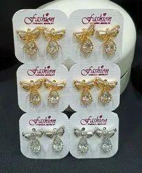 Brass Stud Earring Cubic Zirconia Earrings