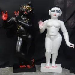 Black And White Iskcon Radha Krishna Marble Statue