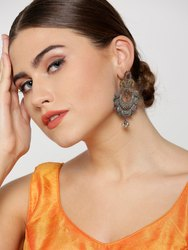 Antique Dual-Toned Peacock Inspired Chandbalis Shaped Drop Earrings