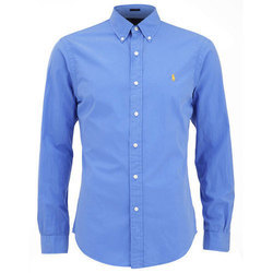 Men Cotton Full Sleeve Collar Plain Shirt, Size: S-XXL