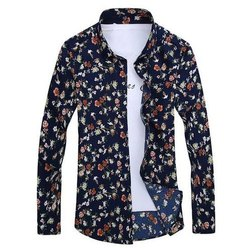 Mens Floral Printed Cotton Shirt, Size: S-xxl