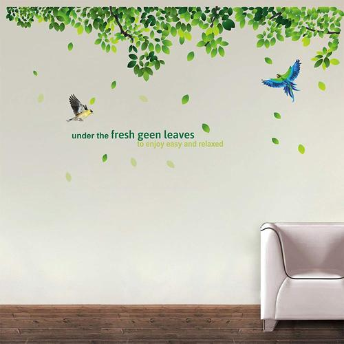 decor kafe fresh green leaves wall decals two birds vinyl wall