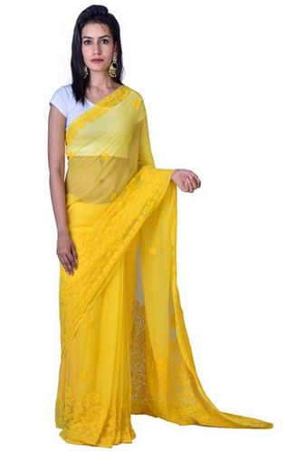 aed29343fea03a Georgette Sarees - Beautiful Yellow Chikankari Designer Saree ...