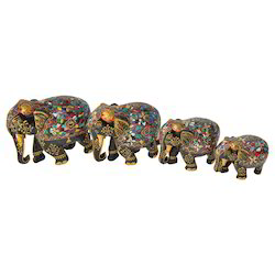 Wooden Embossed Stone Elephant Set