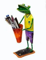 Metal Unique Hand Painted Frog Pen Pencil Holder Stand For Home Office