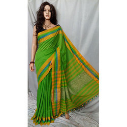 Green  Soft Khadi Cotton Saree