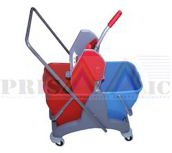 Plastic Blue & Red Mop Wringer Trolley