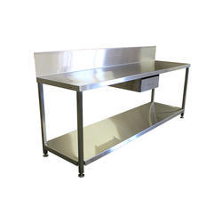 Rectangular,Square SS Table With Bottom Rack, Size: 1500 X 610 X 685 mm