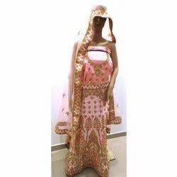 Ladies Pink Semi-Stitched Wedding Wear Designer Lehenga, Packaging Type: Box