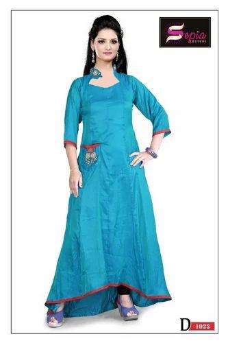 9934ad1c73 Silk Multi Colour Daily Wear Girls Kurti, Sepia Couture | ID ...