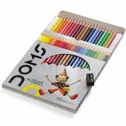 Wood Doms Colour Pencil With Sharpener for Coloring, Packaging Size: 24 Pencils