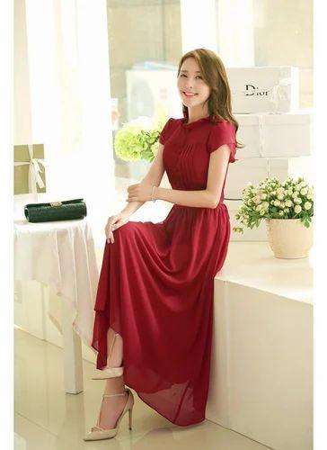 c9c9e45451be2 Maroon Dresses Wigglee New Latest Stylish Chiffon Designer Western Dress