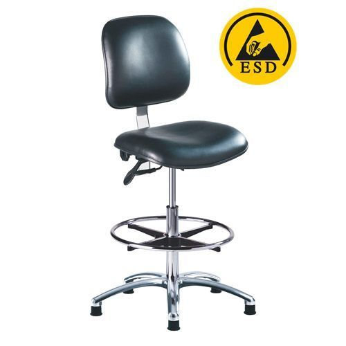 Black And Metallic Grey Pvc ESD Clean Room Chair