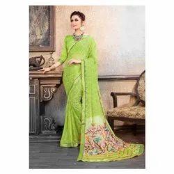 Brasso Party Wear Ladies Chiffon Green Saree, 6.3 m