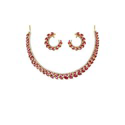 Ruby Diamond Bridal Necklace Set