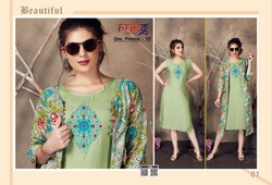 Girl Friend Vol 10-Rung Heavy Printed Rayon With Embroidery Work Kurtis With Koti