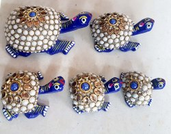 Wooden Painted Tortoise With Stone Work
