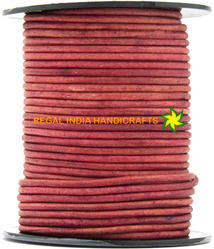 Pink Fuchsia Round Leather Cords Threads Strings