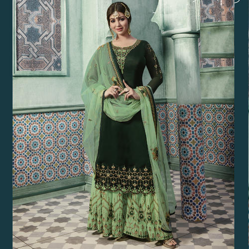b6b9319aec Georgette Embroidered Designer Sharara Suits, Rs 2198 /piece | ID ...