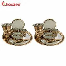 Choozee - Copper Thali Set of 2 (14 Pcs) of Plate, Bowl, Spoon & Matka Glass