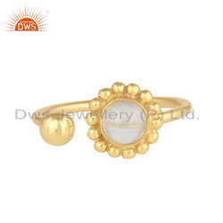 Crystal Quartz Gemstone Gold Plated 925 Silver Adjustable Flower Rings