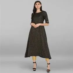Black Poly Crepe Kurta With Pant(SET041)