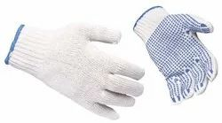 Cotton Nitrile Knitted Safety Gloves, Size: Medium