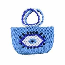 New Design Blue Bead Tote Casual Party Aztec Design Beaded Bag