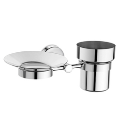Urban Stainless Steel Soap Dish With Toothbrush Tumbler, For Bathroom