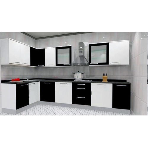 Plywood Designer L Shaped Kitchen