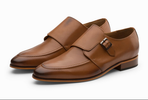 Single Monkstrap Leather Shoes Tan Gents Leather Shoes