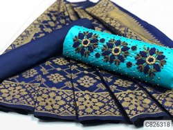 Multicolored Trendy Heavy Cotton Pearl With Embroidery Dress Materials