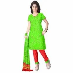 Parrot Green and Red Color Fancy Bandhej Gaji Silk Dress Material