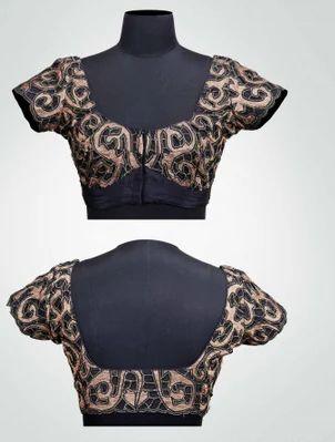 31659d816b2094 Black And Antique Gold Colour Silk Black And Antique Cut Work Blouse ...