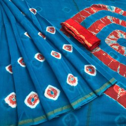 Bagru Shibori Print Chanderi Saree