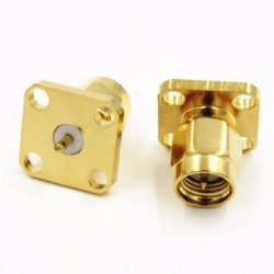SMA Connector Male 4 Hole Panel Mount Without Teflon