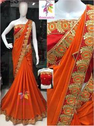 Gota Patti Work Saree, Length: 6.3 m