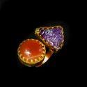 Gold Plated Bezel Setting Gemstone Adjustable Fashion Ring