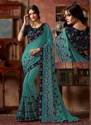 Kesari Exports Wedding Wear Embroidery Work Sarees