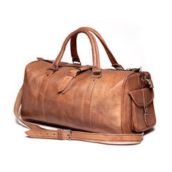 Brown Plain Leather Luggage Bag