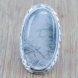 Handmade Jewelry Black Rutile Gemstone 925 Sterling Solid Silver Ring WR-3422