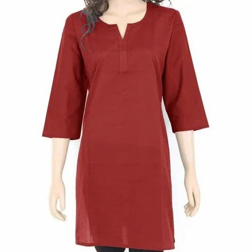 Maroon 3/4 Sleeve Ladies Formal  Plain  Kurti