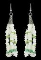 White & Green Glass Chips & Cheveron Beads With Cris Cap Earrings