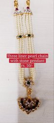 Pearl Necklace - Three Line Necklace With Stone Pendant
