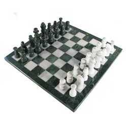 Decorative Gray and White Marble Chess Set