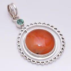 Carnilian/Emrald Chakra 925 Sterling Silver Pendant